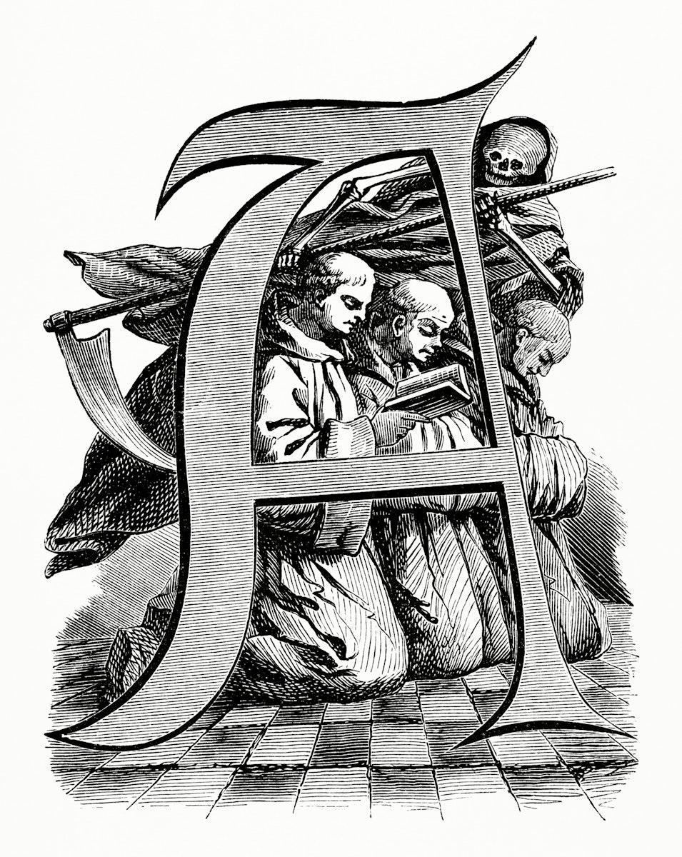 Vintage illustration of Inital of a Letter A