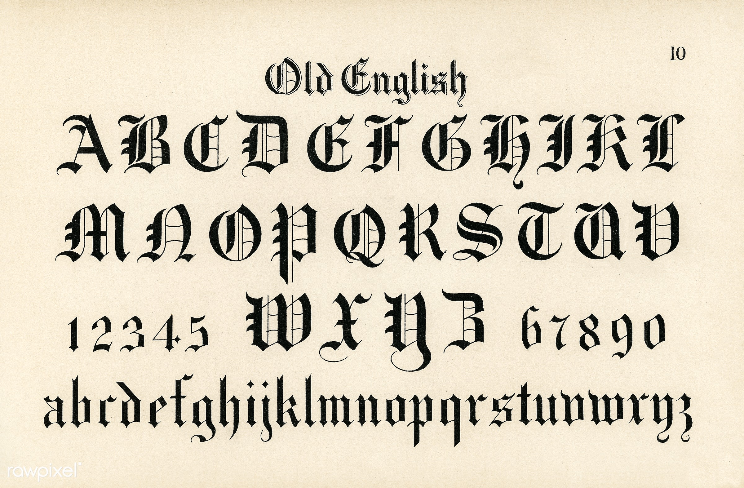 Old English Calligraphy Fonts From Draughtsmans Alphabets By Hermann Esser 1845 1908