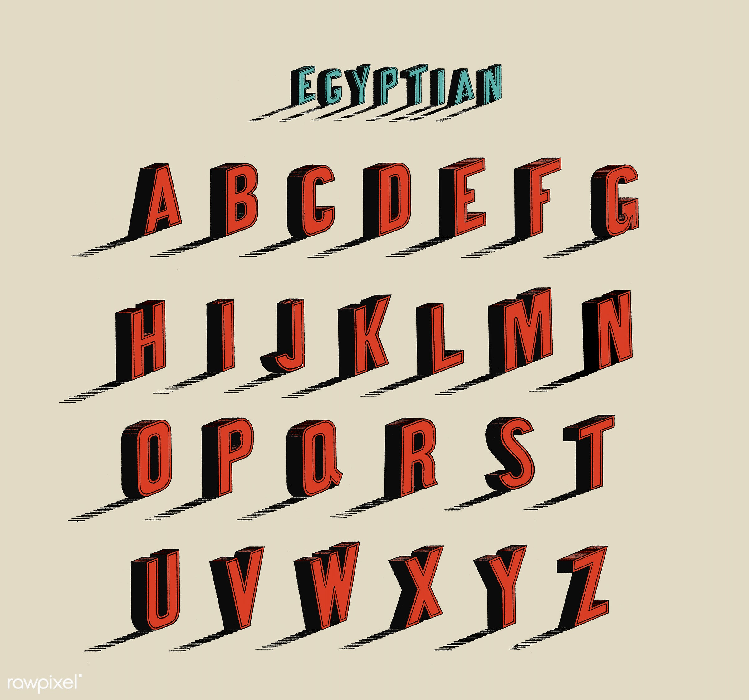 Egyptian Style Calligraphy Fonts From Draughtsmans Alphabets By Hermann Esser 1845 1908 Digitally Enhanced Our Own 5th Edition Of The Publication