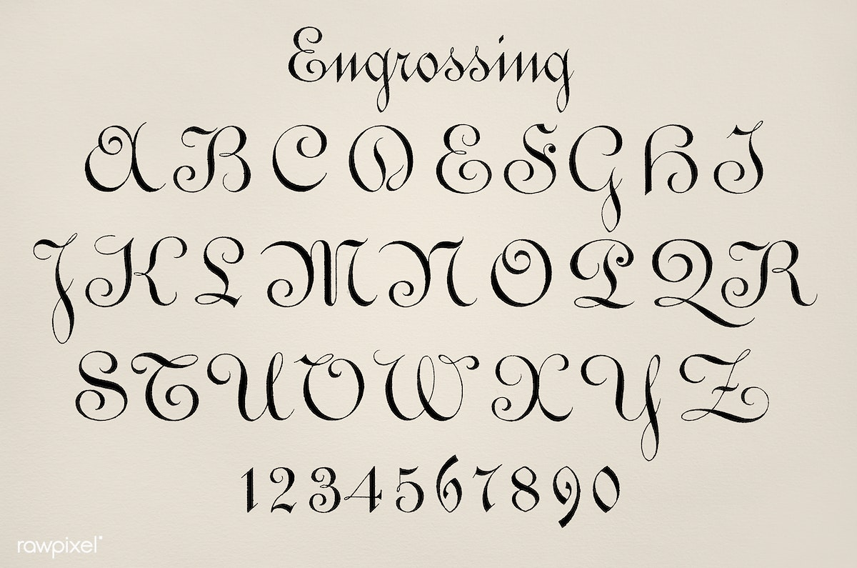 Download premium illustration of Engrossing fonts used during the late