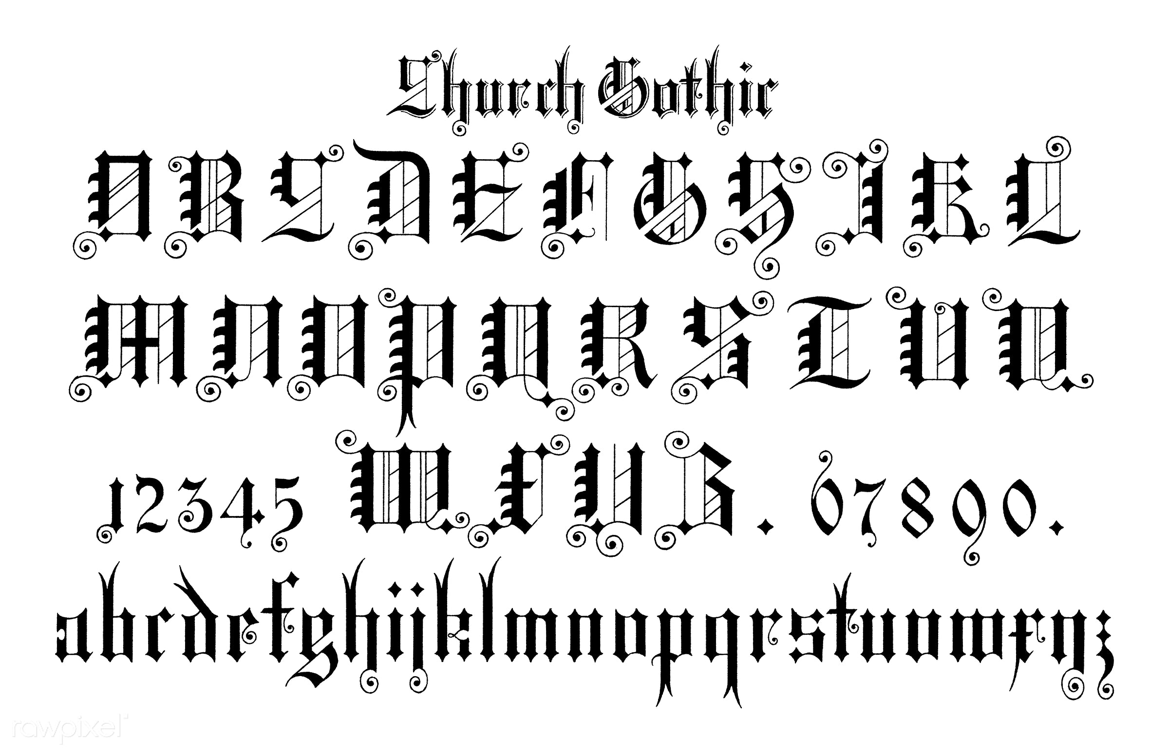 Church Gothic Calligraphy Fonts From Draughtsmans Alphabets By Hermann Esser 1845 1908 Digitally Enhanced Our Own 5th Edition Of The Publication