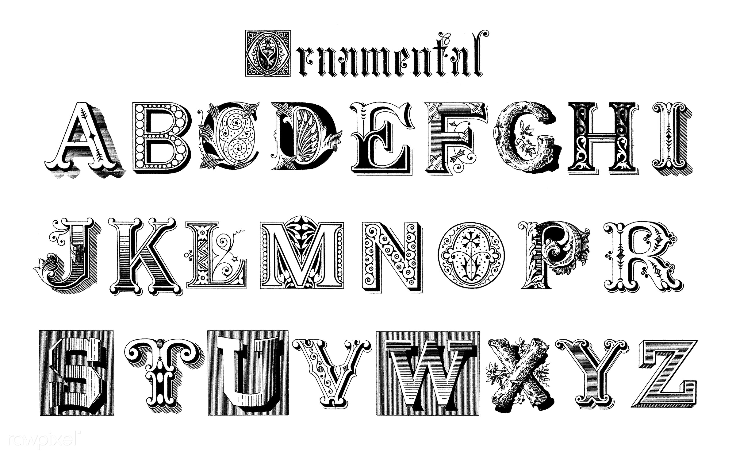 Ornamental fonts from Draughtsman's Alphabets by Hermann Esser (1845–1908). Digitally enhanced from our own 5th...
