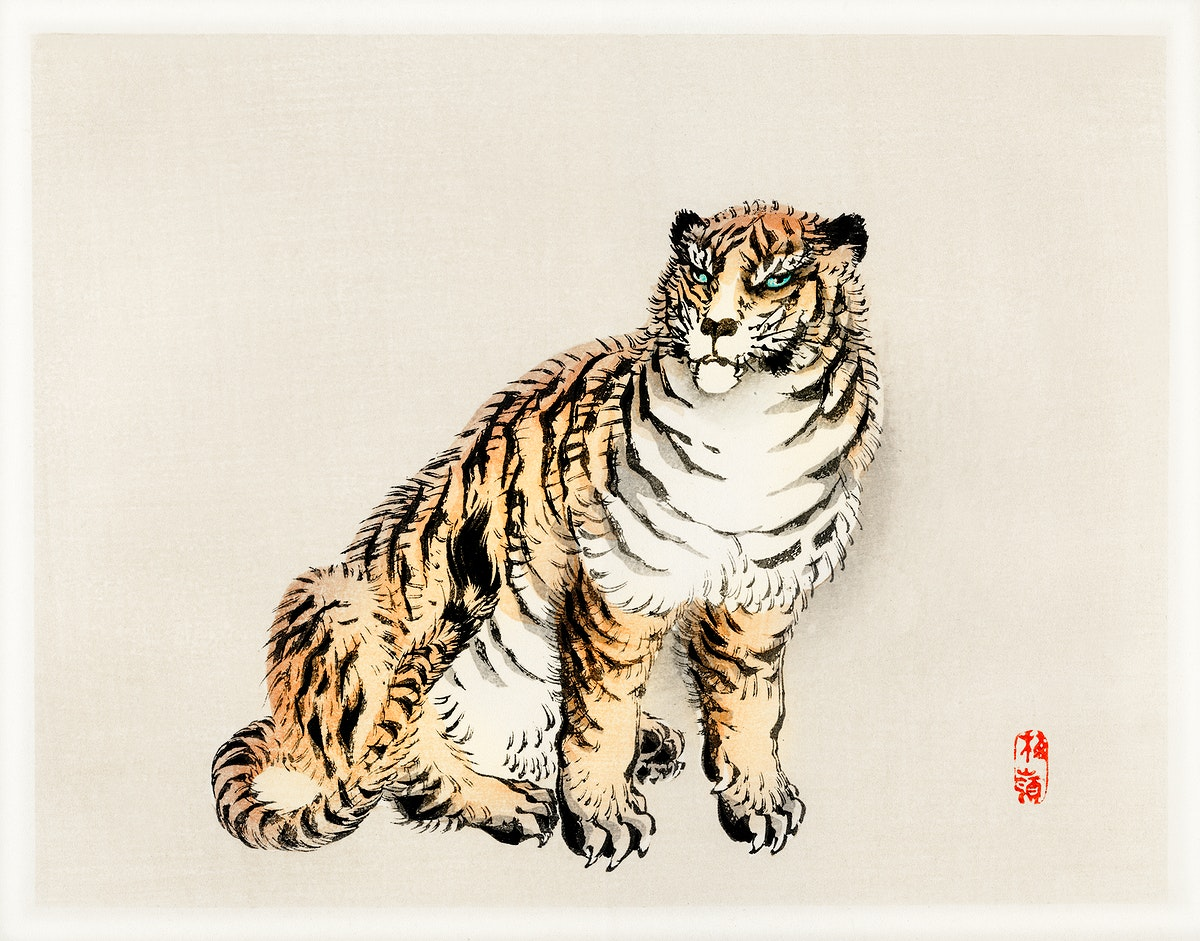 Tiger by Kōno Bairei (1844-1895). Digitally enhanced from our own original 1913 edition of Bairei Gakan.