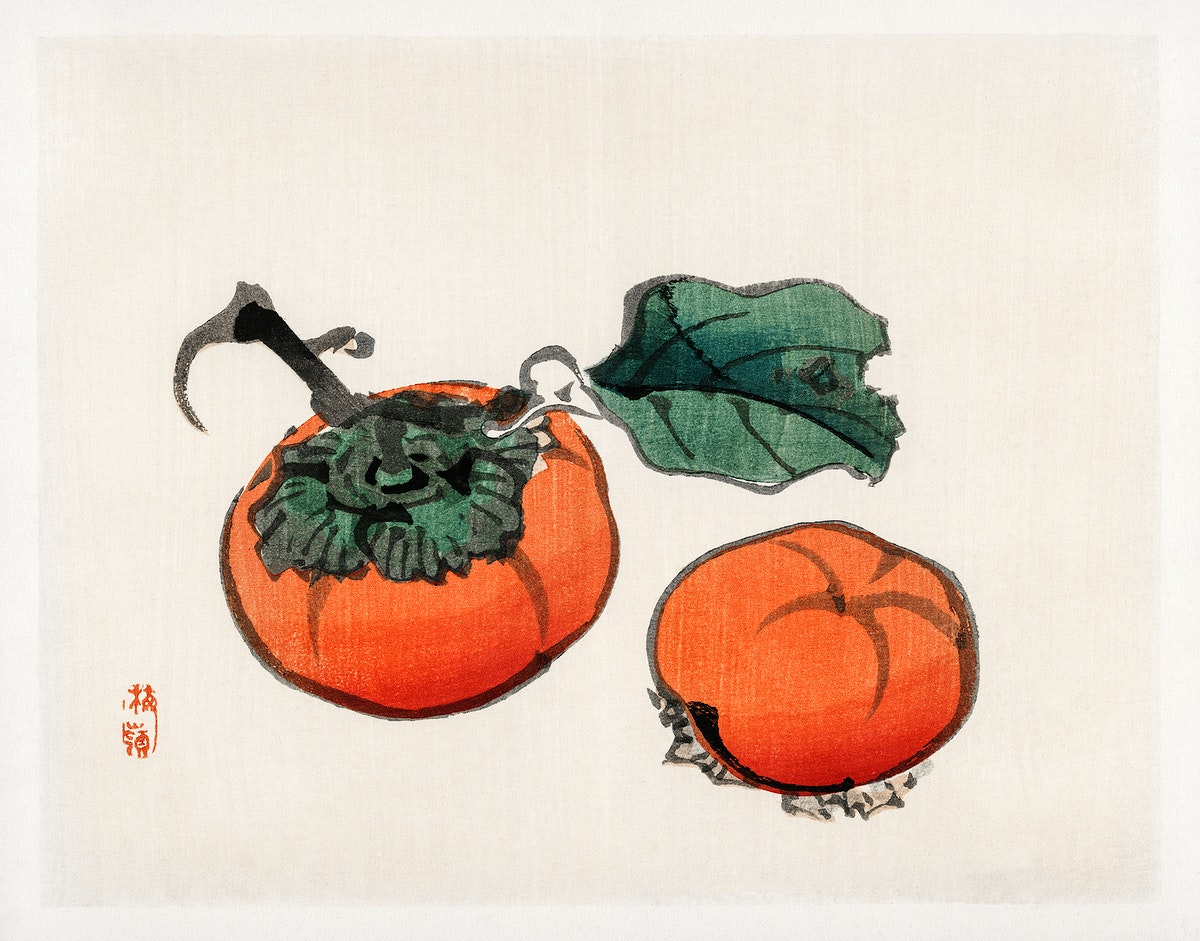 Persimmons by Kōno Bairei (1844-1895). Digitally enhanced from our own original 1913 edition of Bairei Gakan.