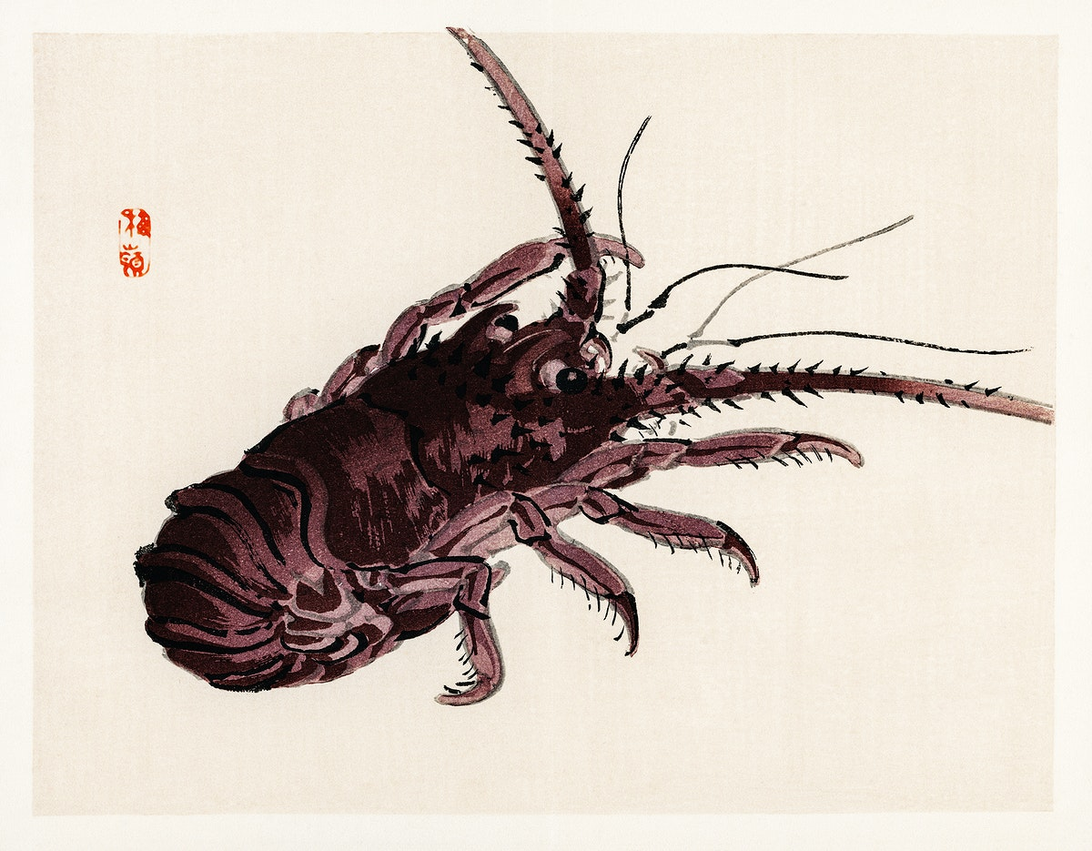 Crayfish by Kōno Bairei (1844-1895). Digitally enhanced from our own original 1913 edition of Barei Gakan.