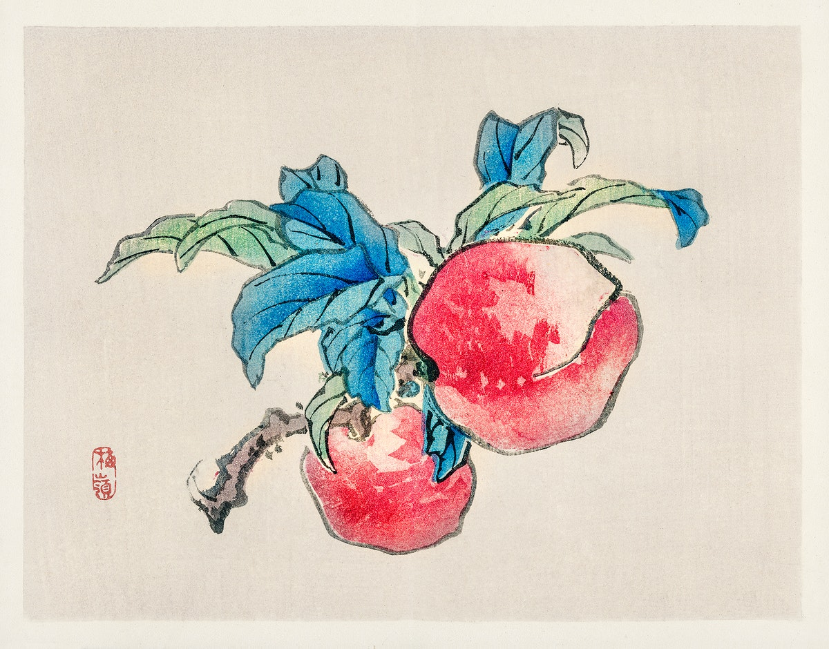 Peaches by Kōno Bairei (1844-1895). Digitally enhanced from our own original 1913 edition of Barei Gakan.