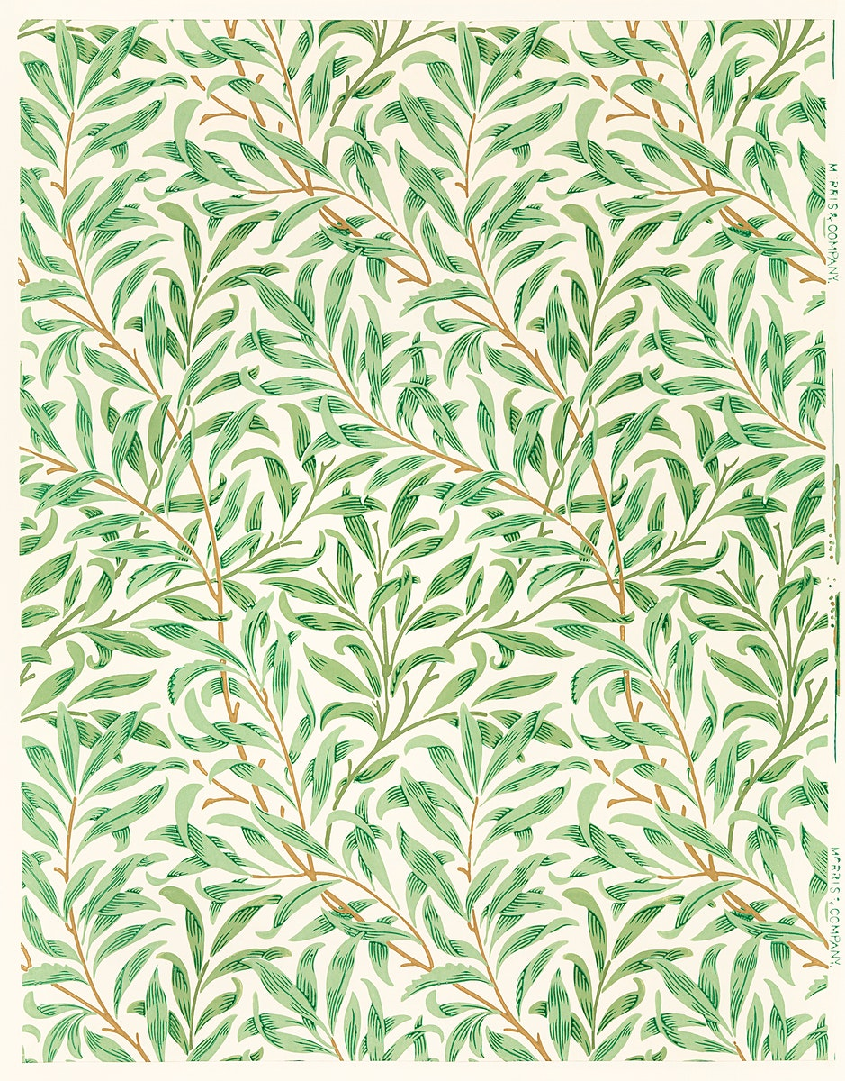 Vintage willow bough vintage illustration wall art print and poster design remix from the original artwork by William Morris.