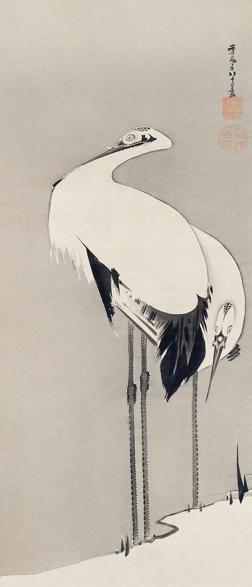 Two Cranes (1795) illustration by Ito Jakuchu. Original from The MET Museum. Digitally enhanced by rawpixel.