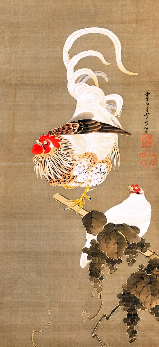 Hen and Rooster with Grapevine (1792) illustration by Ito Jakuchu. Original from The MET Museum. Digitally enhanced by…