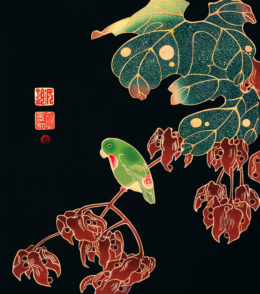 The Paroquet (ca. 1900) illustration by Ito Jakuchu. Original from The MET Museum. Digitally enhanced by rawpixel.