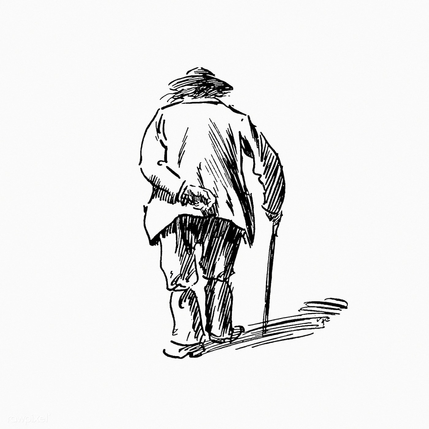 Drawing of an elderly man's back
