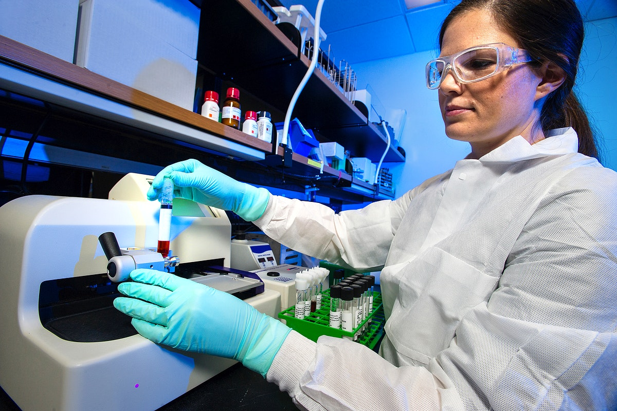 A scientist testing bacterial samples for their antimicrobial susceptibility. Original image sourced from US Government…