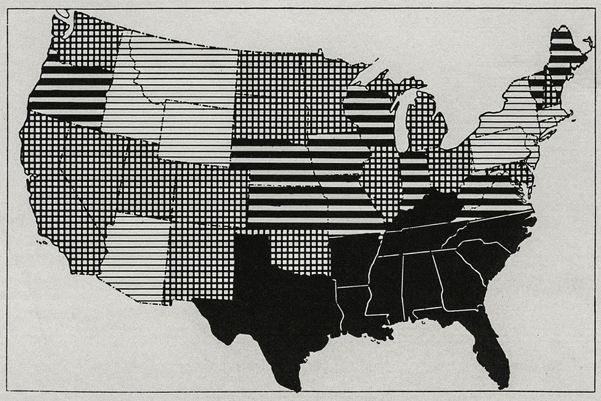 Map showing admission rates for measles by state, per 1000 per annum of white enlisted men in the United States from April…
