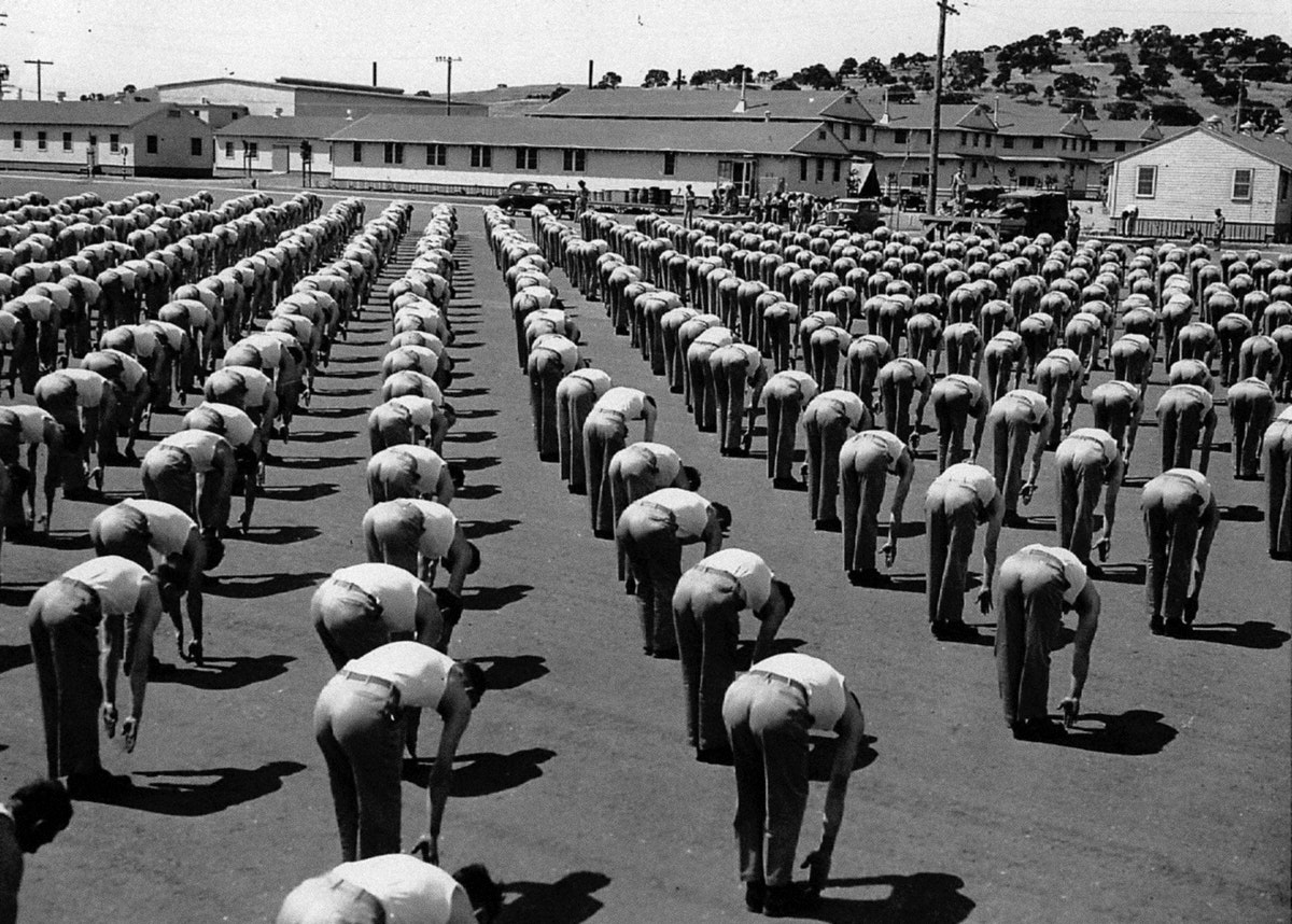 Soldiers doing calisthenics, Camp Roberts, California (1942). Original image from National Museum of Health and Medicine.…