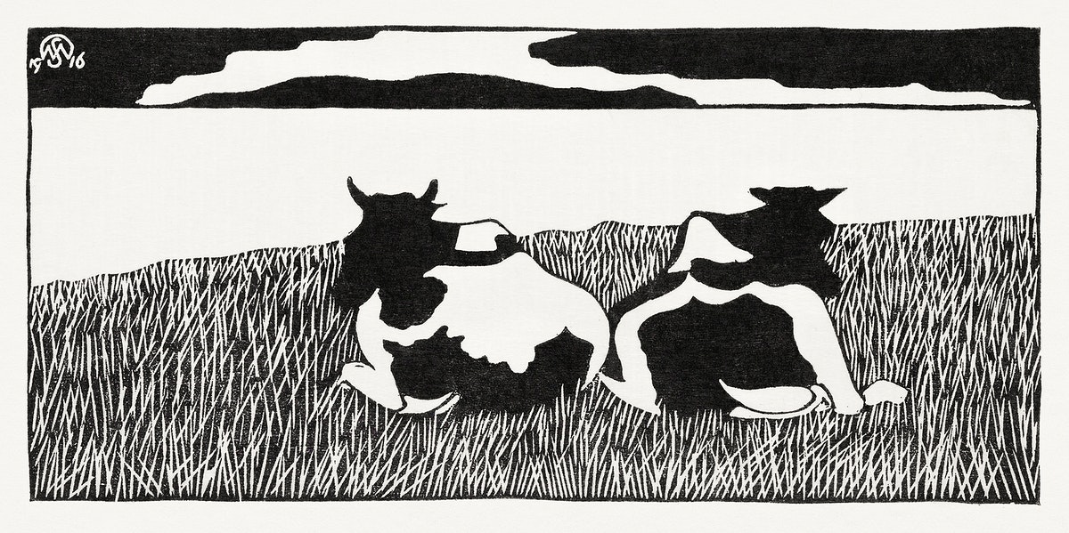 Cows (Koeien) (1916) print in high resolution by Samuel Jessurun de Mesquita. Original from The Rijksmuseum. Digitally…