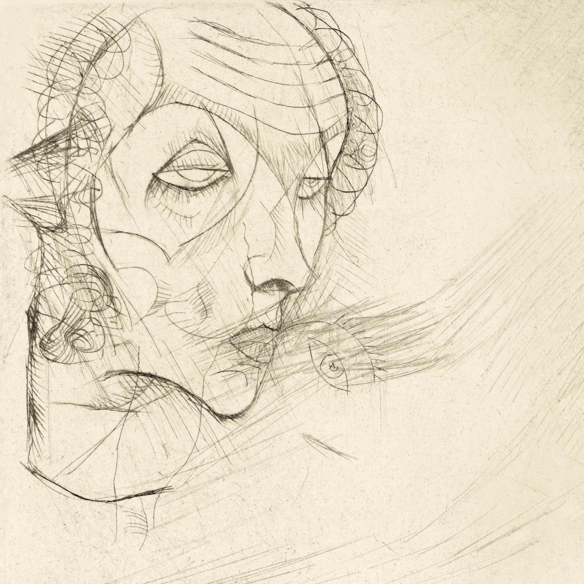 Self-portrait (1914) by Egon Schiele. Original female line art drawing from The MET museum. Digitally enhanced by rawpixel.