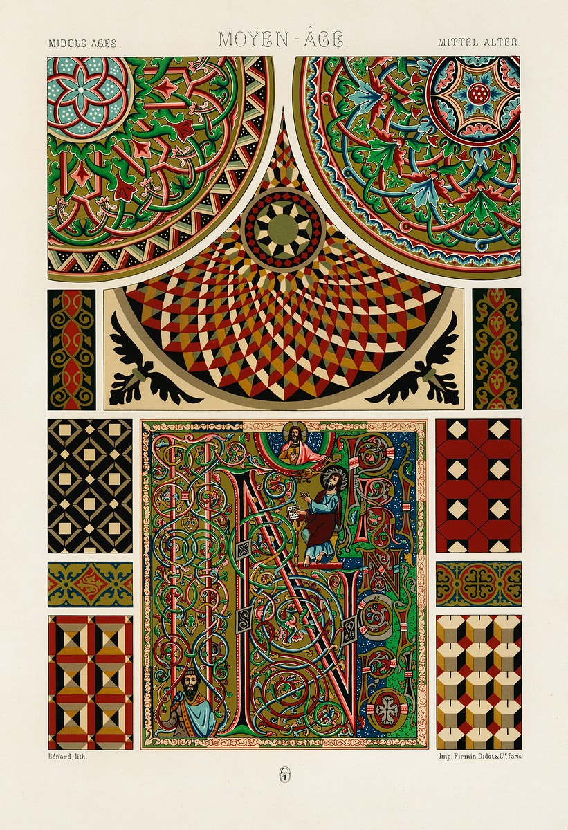 Middle-Ages pattern from L'ornement Polychrome (1888) by Albert Racinet (1825–1893). Digitally enhanced from our own…
