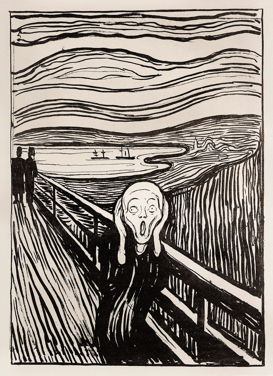 The Scream (1895) by Edvard Munch. Original from The Art Institute of Chicago. Digitally enhanced by rawpixel.