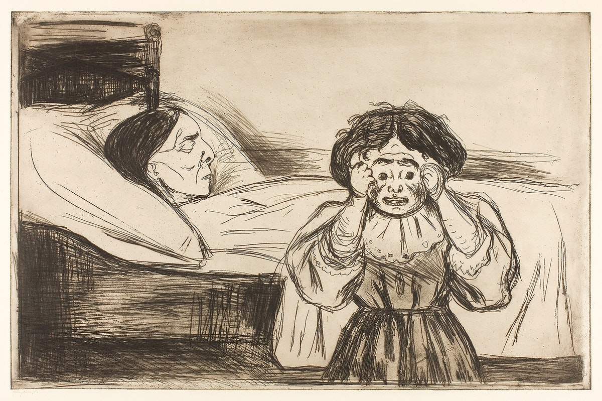 The Dead Mother and Her Child (1901) by Edvard Munch. Original from The Art Institute of Chicago. Digitally enhanced by…
