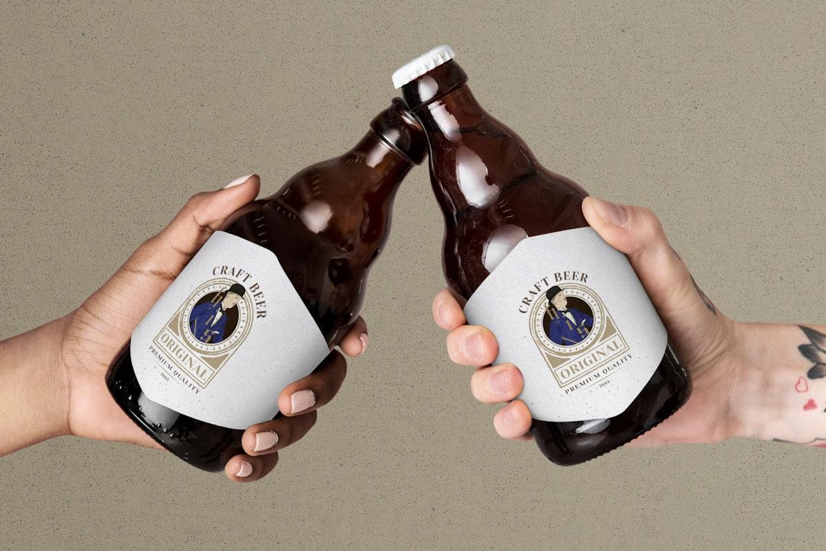 Bottles mockup psd of craft beer old men illustration remix from the artworks by Bernard Boutet de Monvel