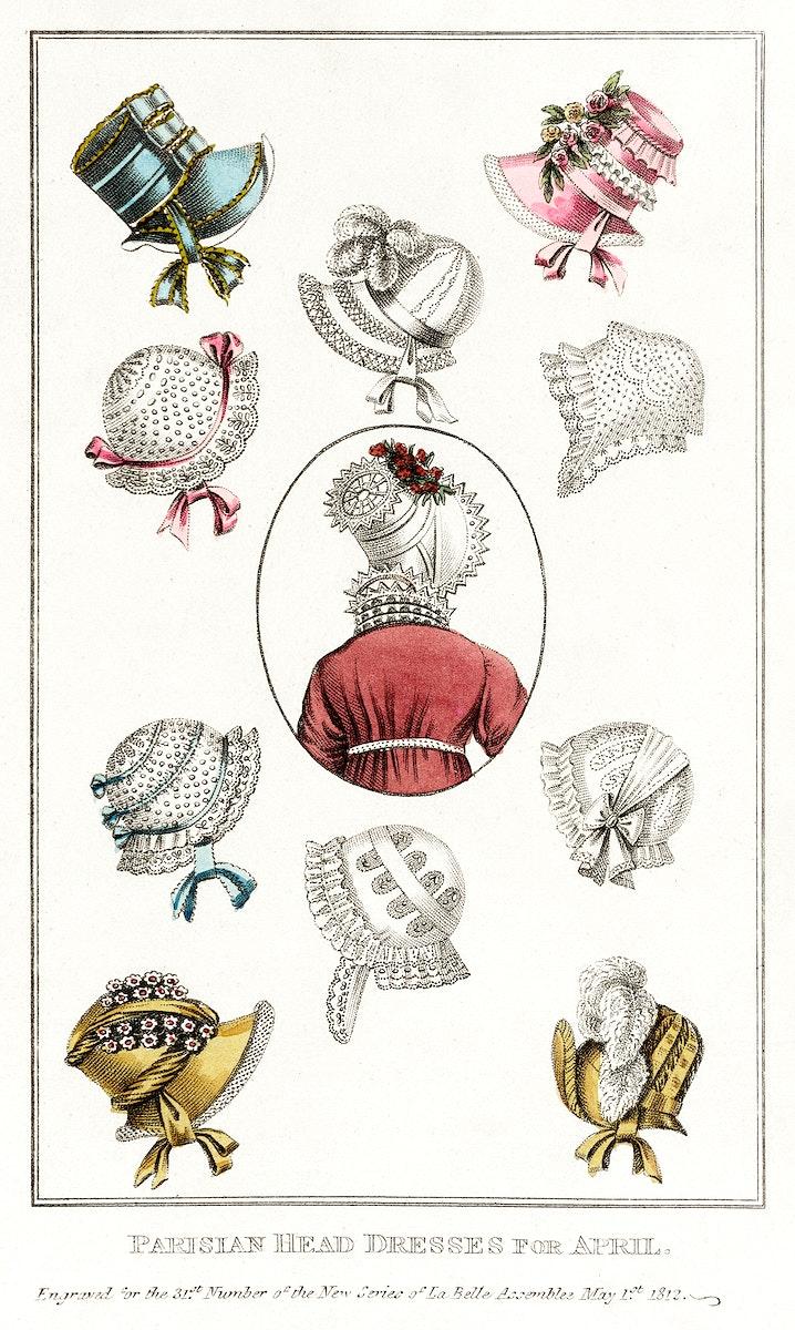 Fashion Plate, 'Parisian Head Dresses for April' for 'La Belle Assemblée' (1812) by John Bell. Original from the Los…