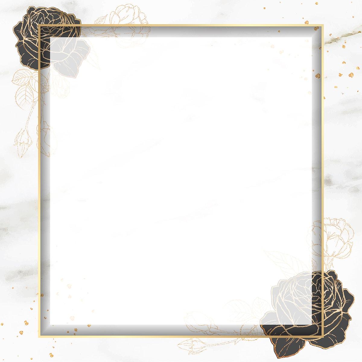 Blank golden square frame vector