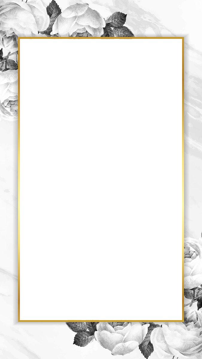 Blank golden rectangle frame vector mobile phone wallpaper