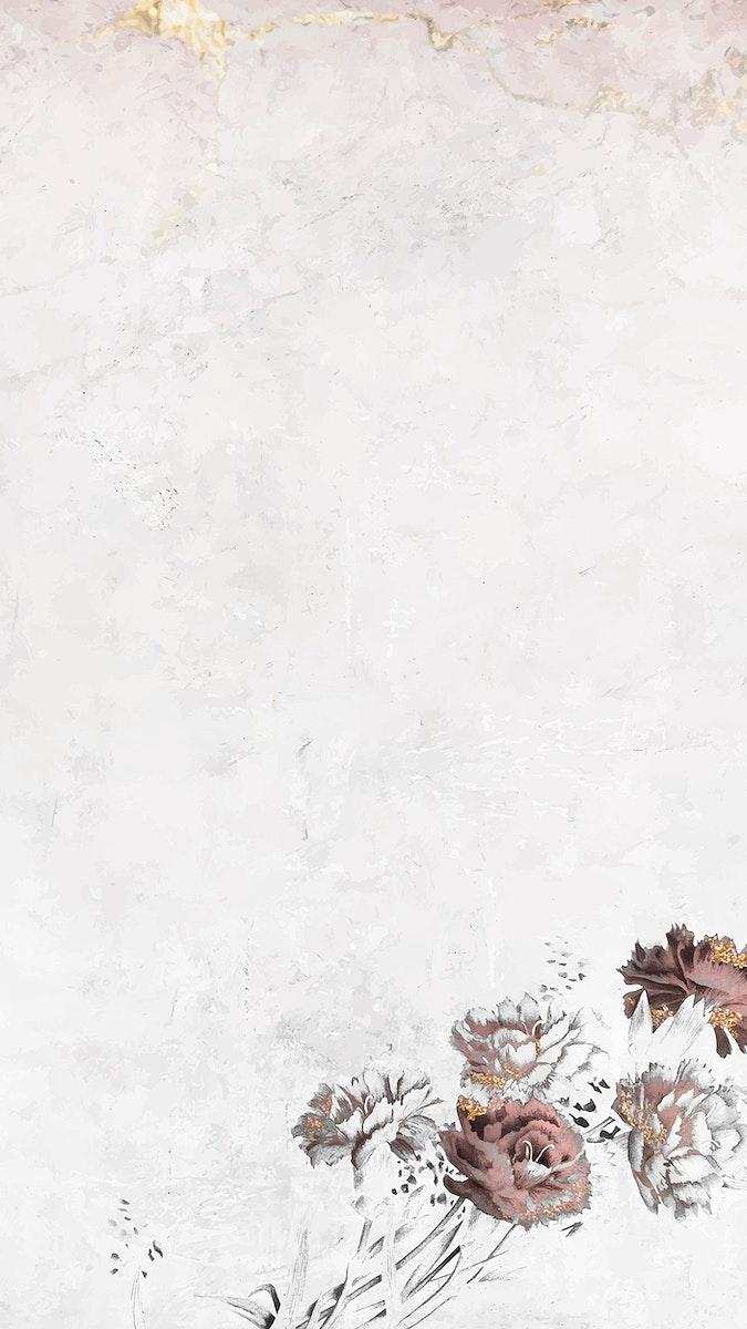 Blank floral shimmering mobile phone wallpaper vector