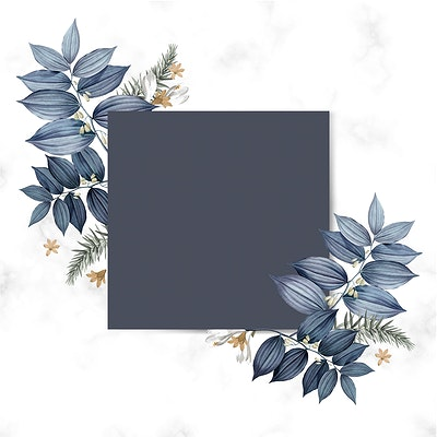 Download Premium Illustration Of Blue Floral Blank Square Card Design