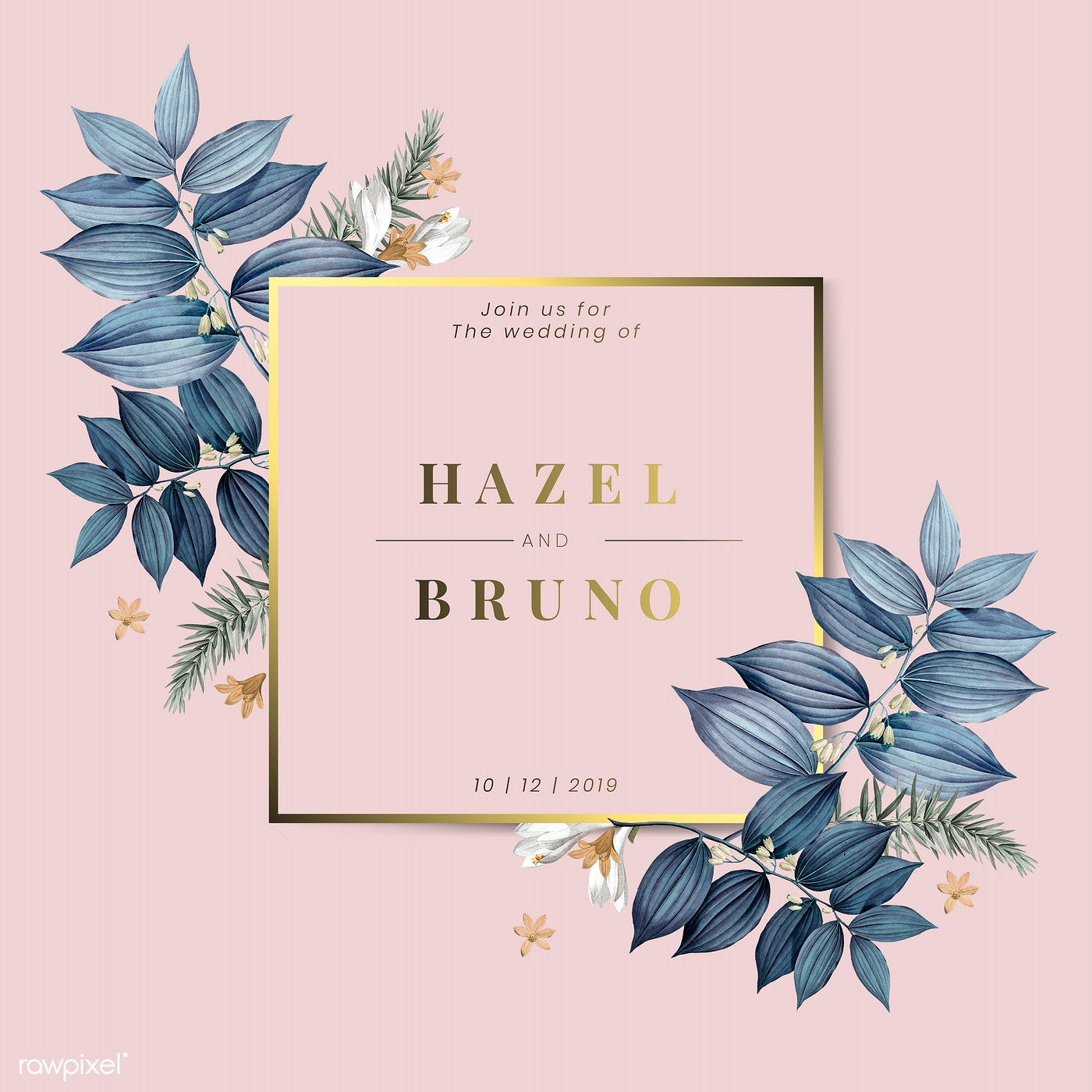 Download Premium Vector Of Floral Wedding Invitation Card Design Vector