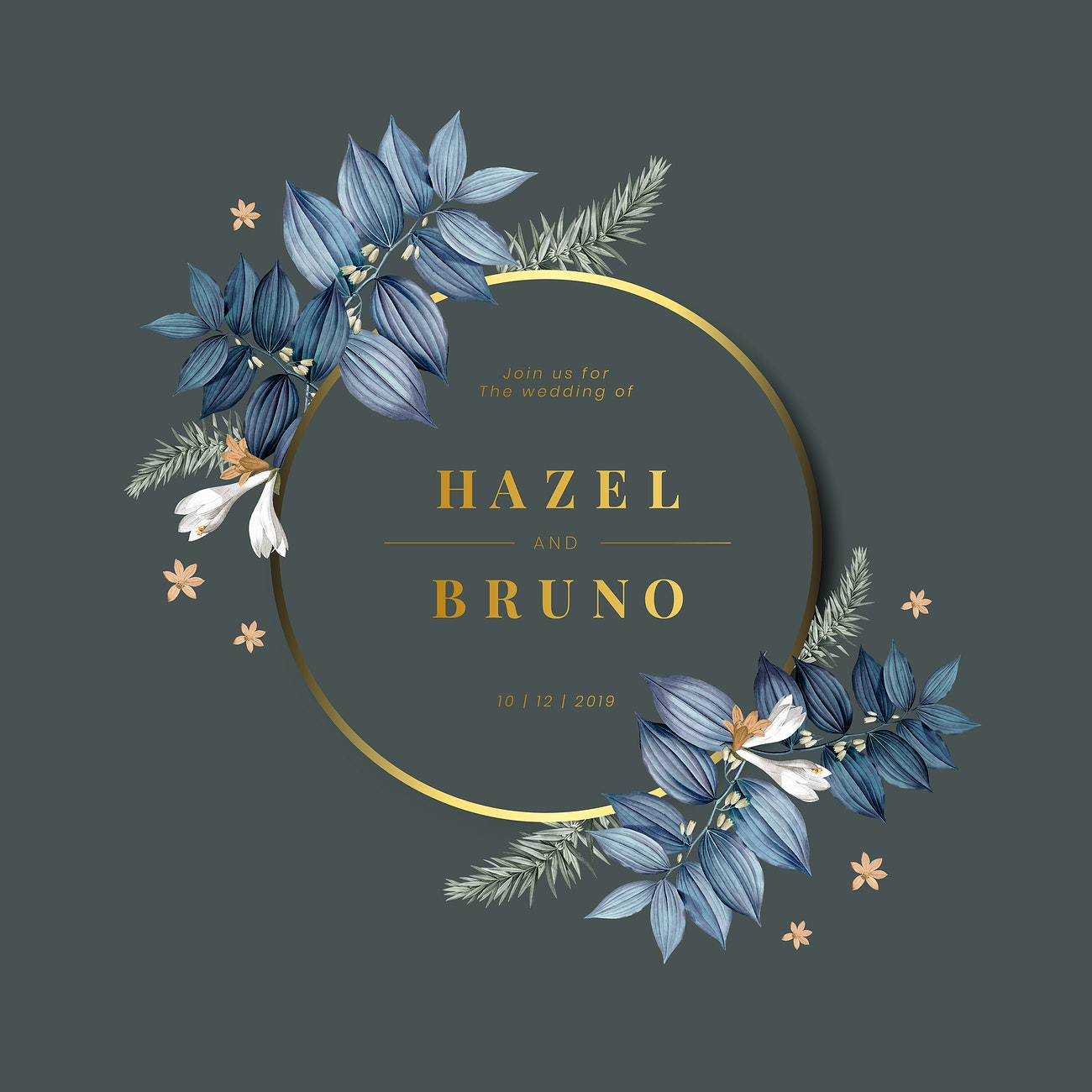 Floral wedding invitation card design vector | Royalty free vector - 520482