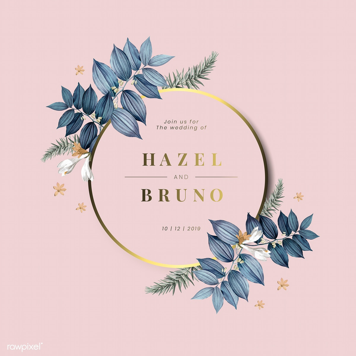 Floral Wedding Invitations.Floral Wedding Invitation Card Design Vector Royalty Free Stock