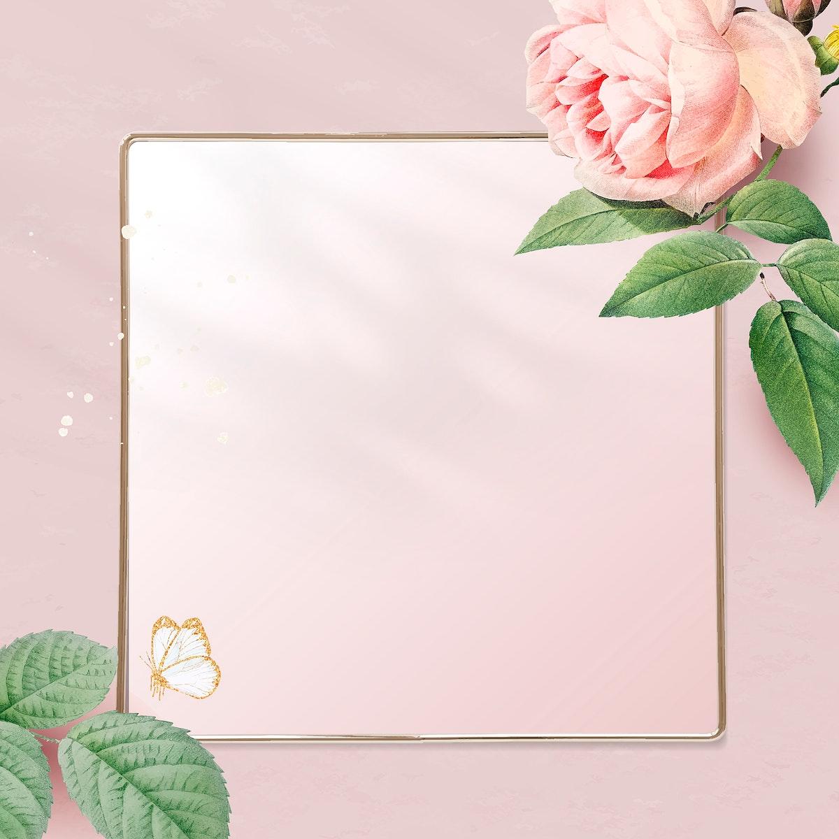 Floral golden square frame vector