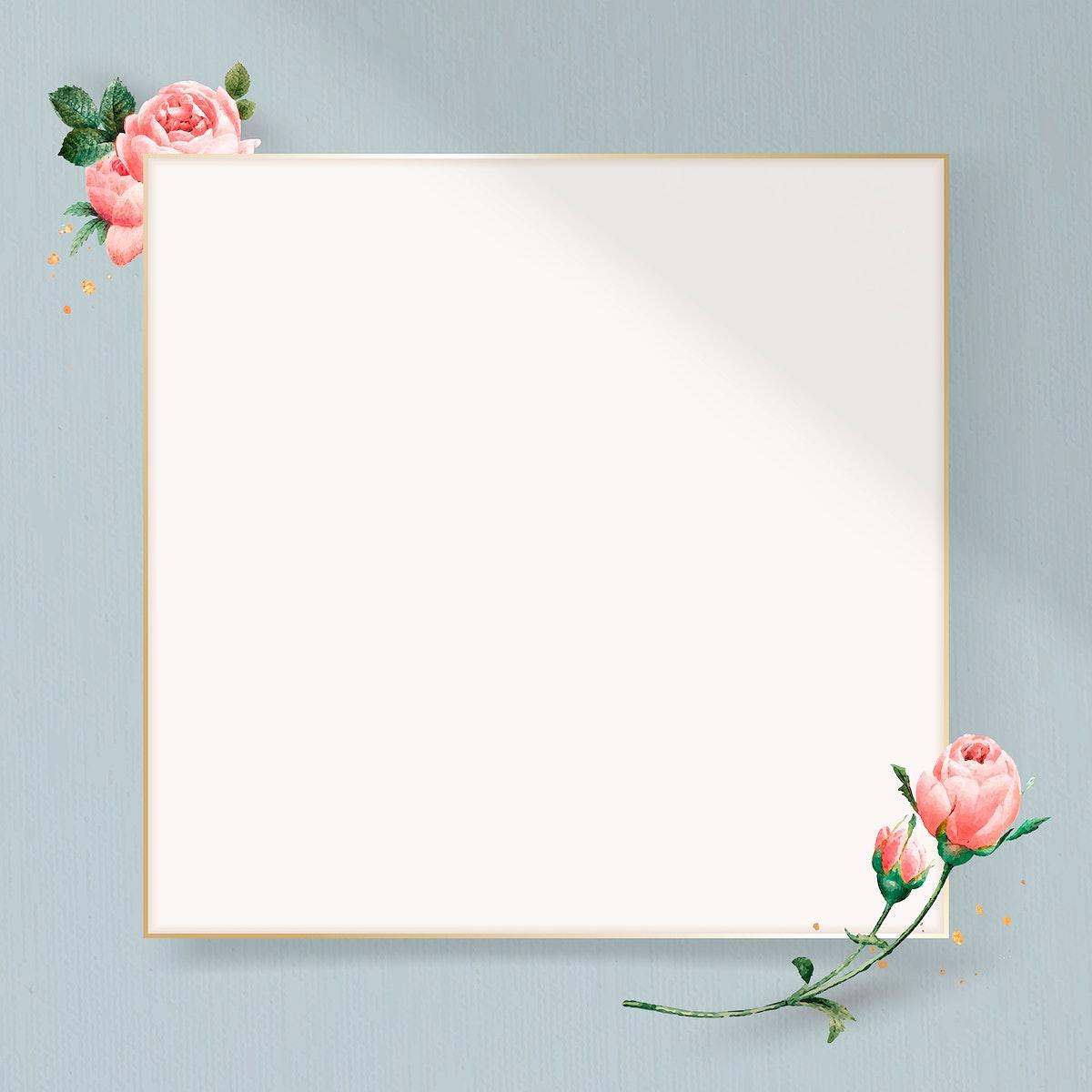 Floral square golden frame vector
