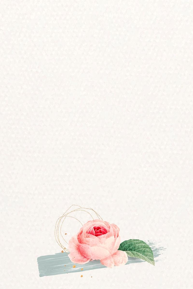Blank pink rose frame vector