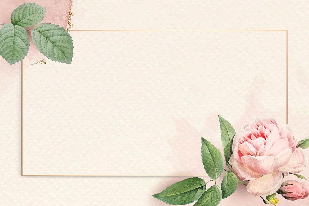 Floral rectangle golden frame vector