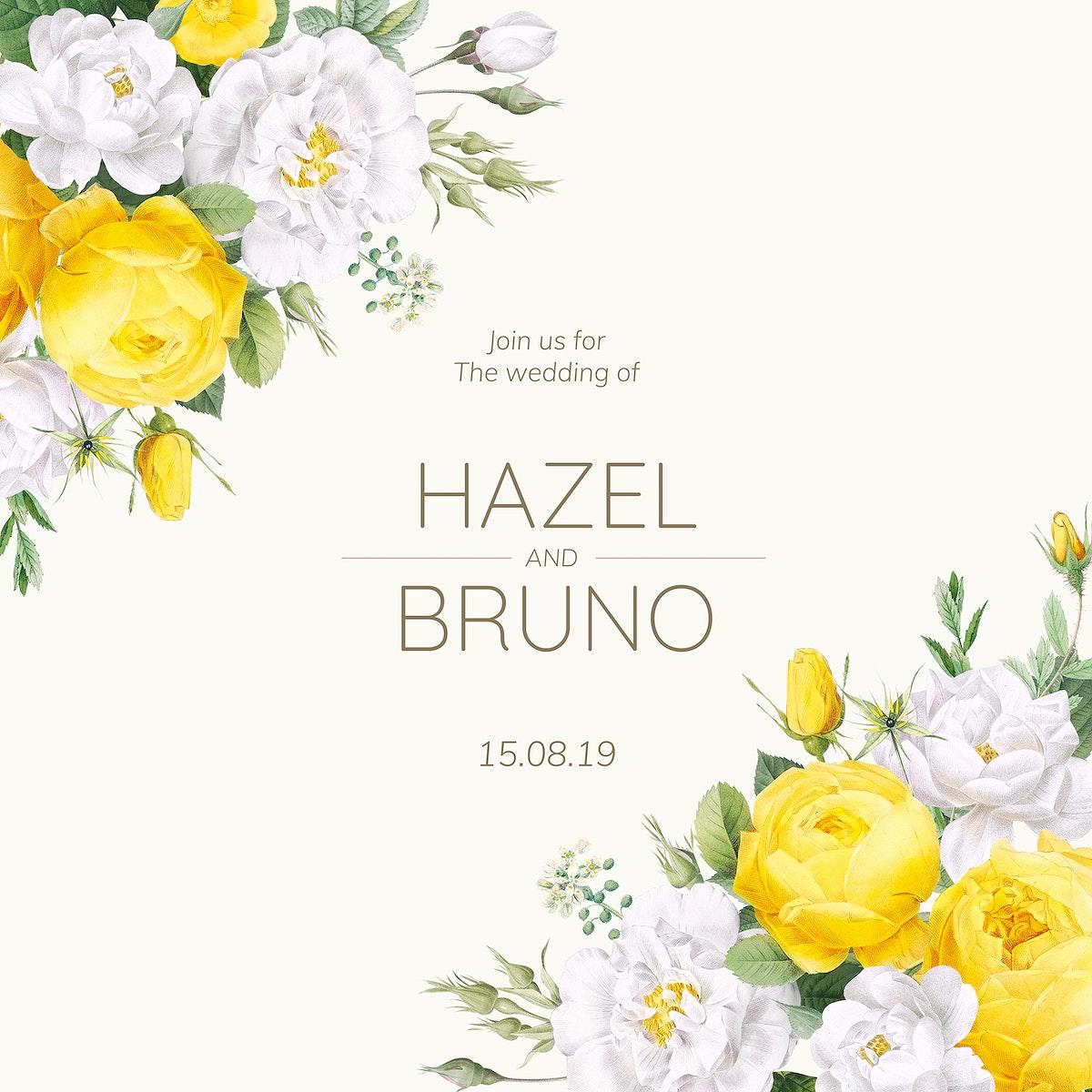 Blooming wedding invitation card illustration