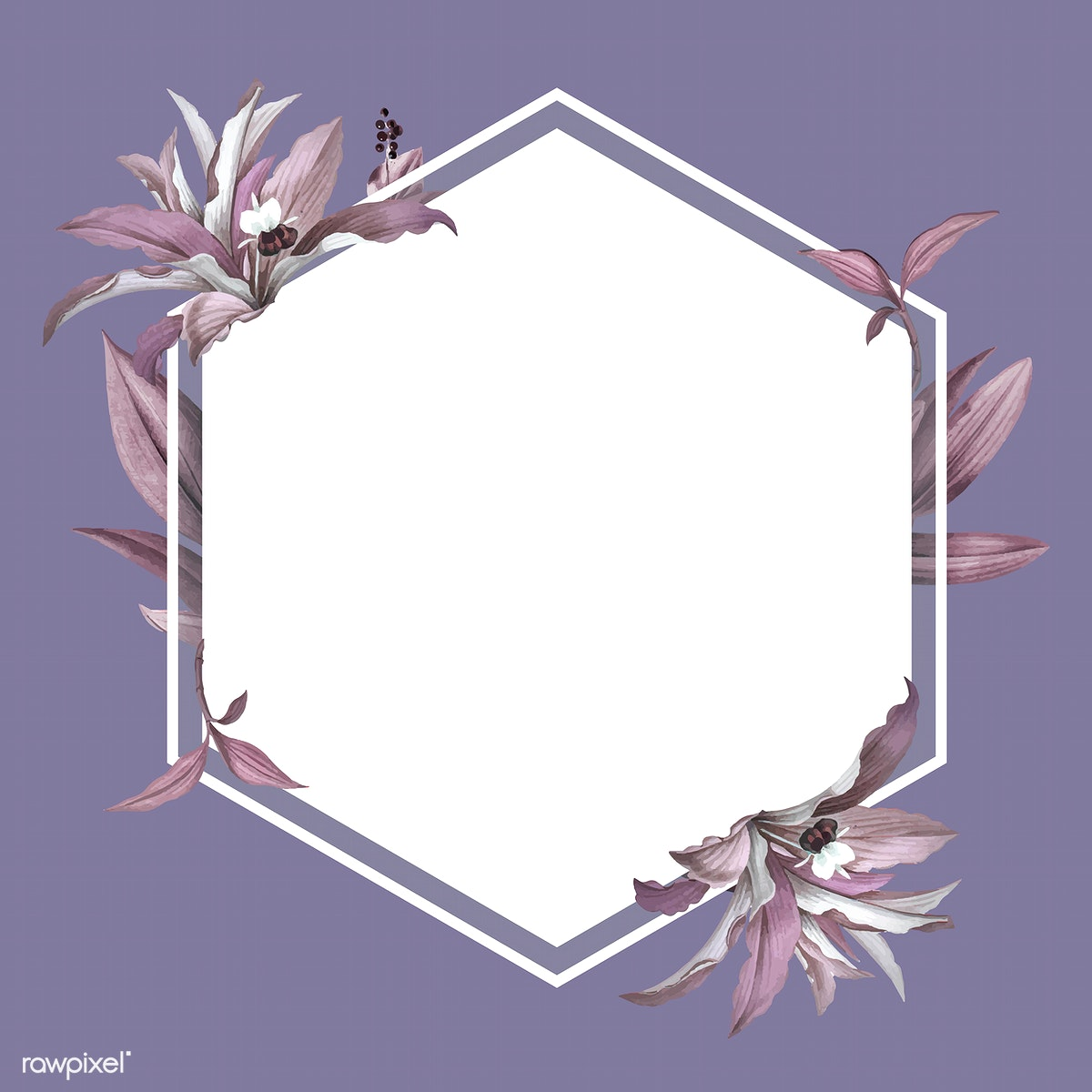 Download premium vector of Empty wedding frame with purple leaves design