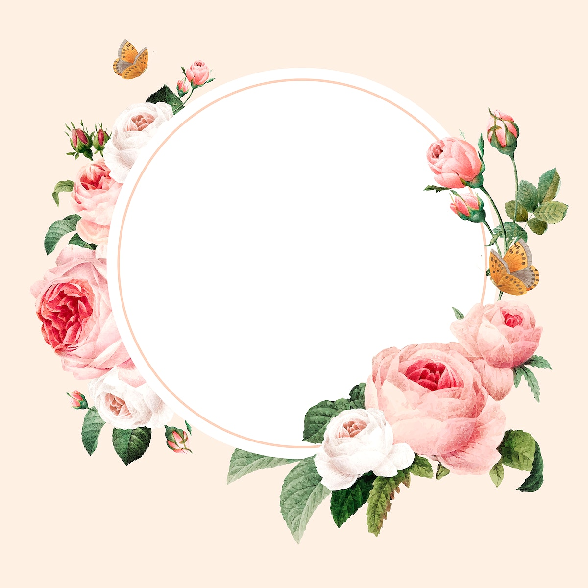 Blank floral round frame vector