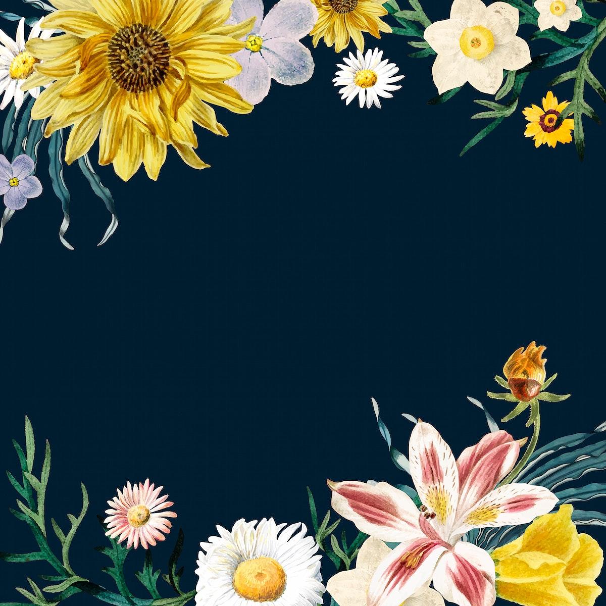 Summer floral border psd vintage style