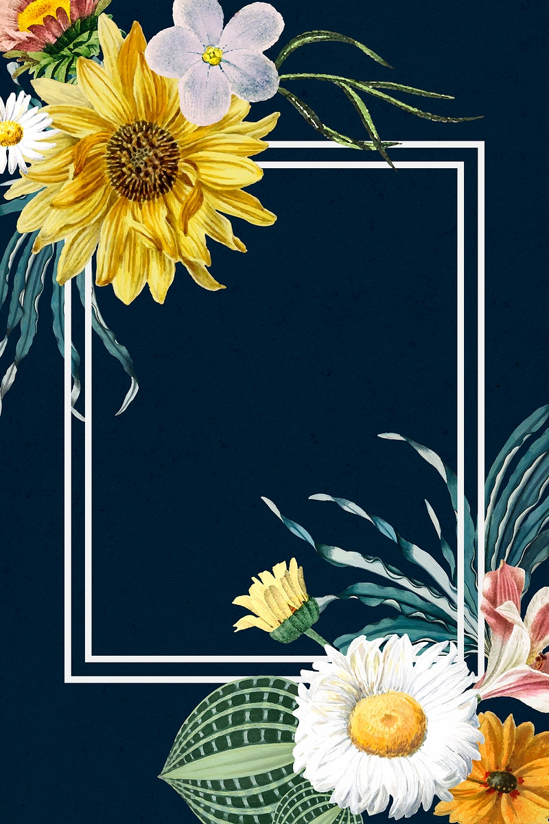 Spring bloom flower frame psd vintage hand drawn illustrations