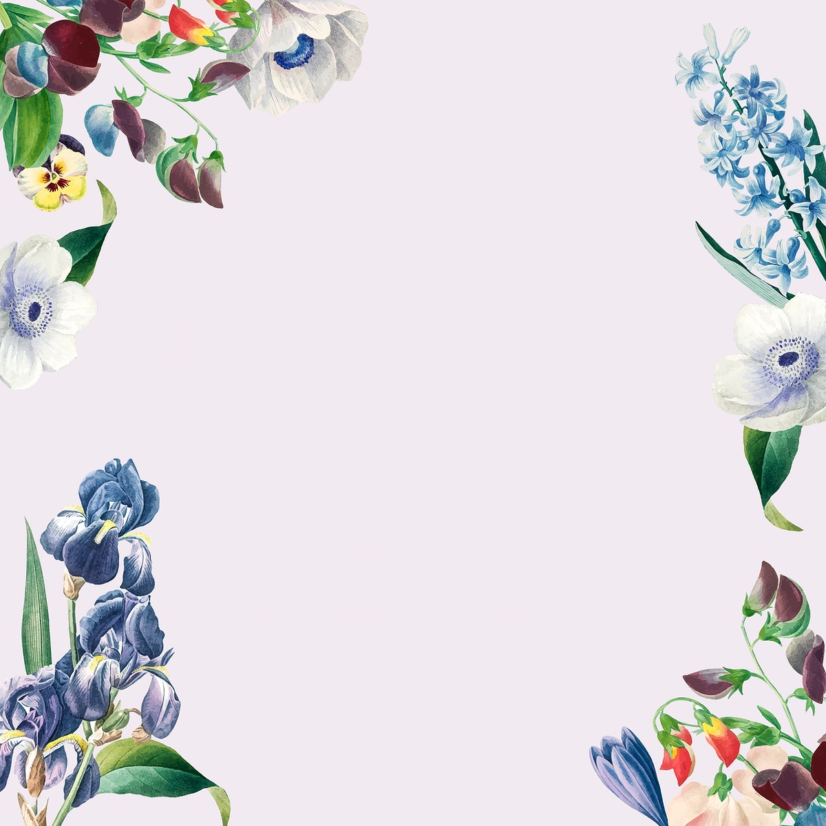 Blue spring flowers decorated frame design element