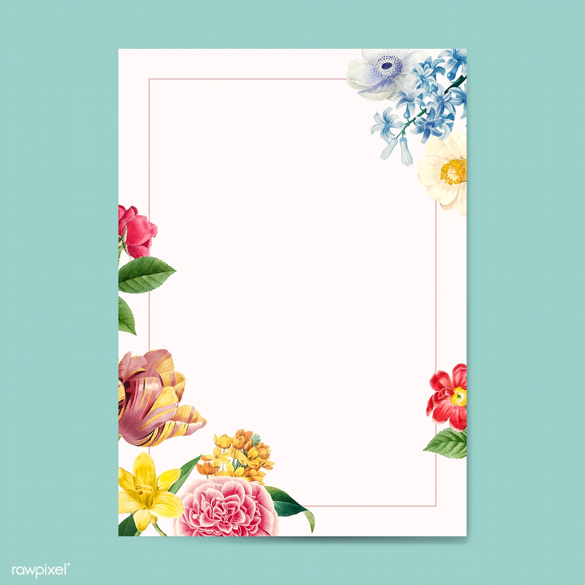 Blank Floral Invitation Copy Space Free Stock Illustration
