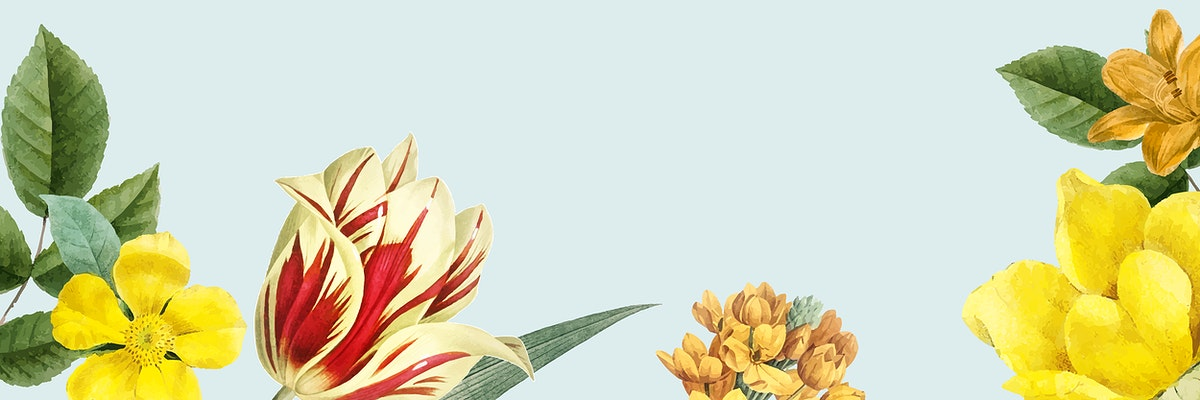 Yellow spring flowers decorated banner design element