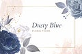 Dusty blue roses frame template vector