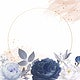 Blue roses themed card template vector