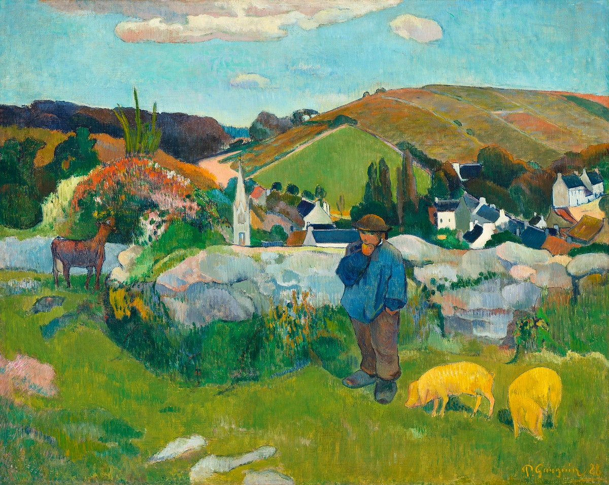 The Swineherd (1888) by Paul Gauguin. Original from the Los Angeles County Museum of Art. Digitally enhanced by rawpixel.