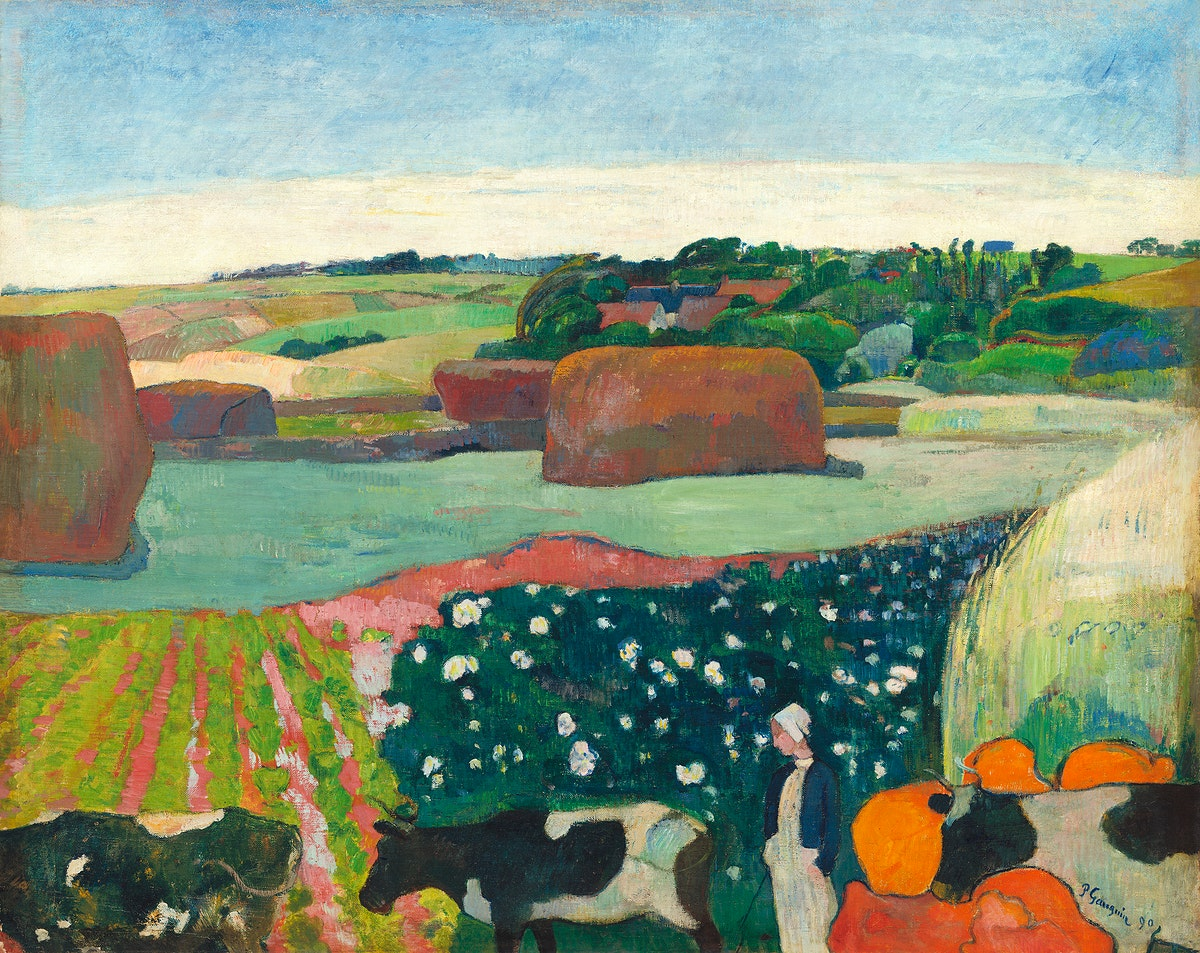 Haystacks in Brittany (1890) by Paul Gauguin. Original from The National Gallery of Art. Digitally enhanced by rawpixel.