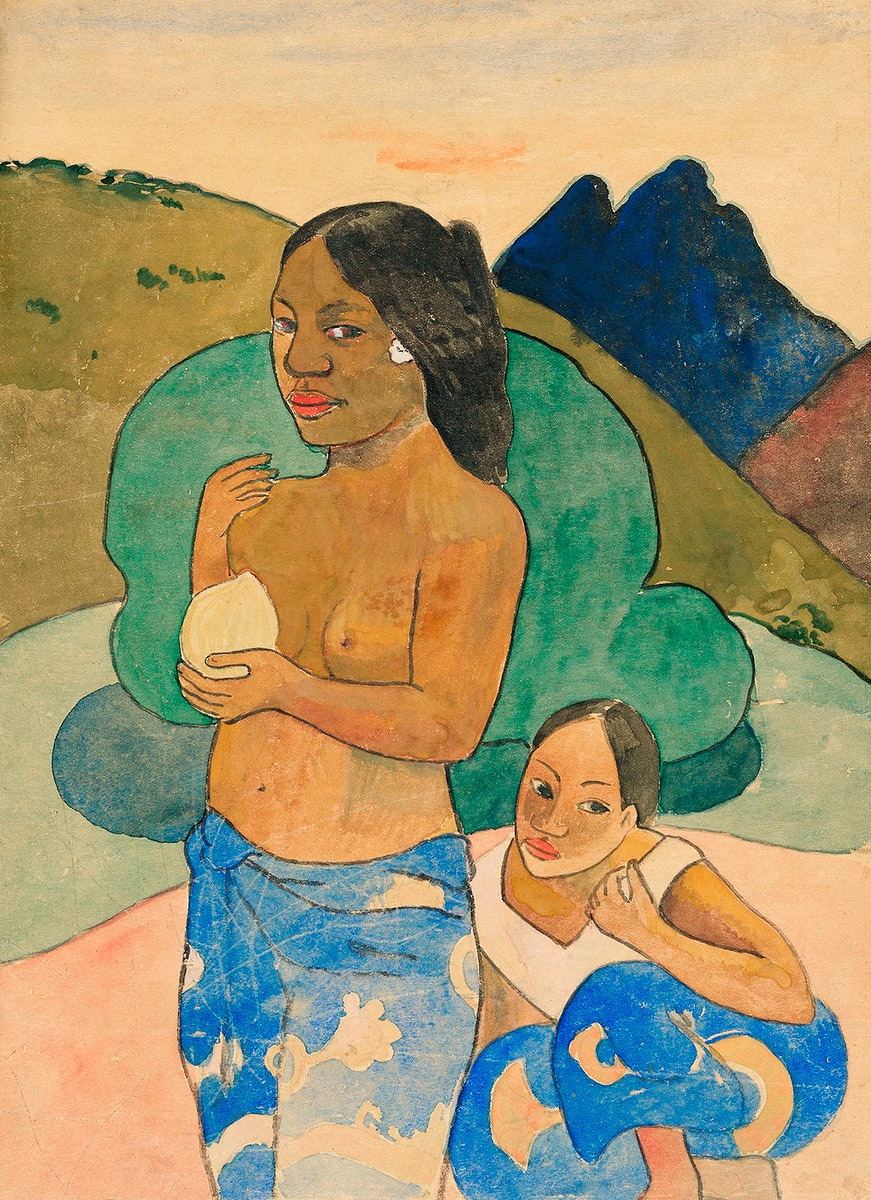 Two Tahitian Women in a Landscape (ca. 1892) by Paul Gauguin. Original from The Art Institute of Chicago. Digitally enhanced…
