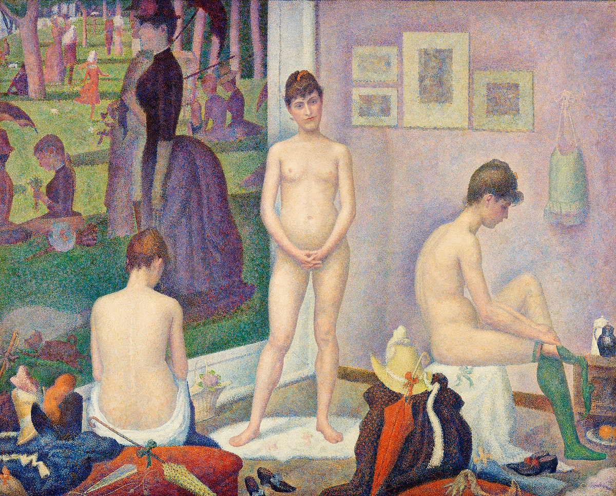 Models (Poseuses) (ca. 1886–1888) by Georges Seurat. Original from Barnes Foundation. Digitally enhanced by rawpixel.